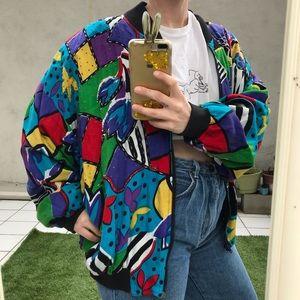vtg multicolored wild pattern lightweight jacket